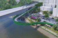 Cycle bridge proposed to curve over Brisbane River now open to feedback